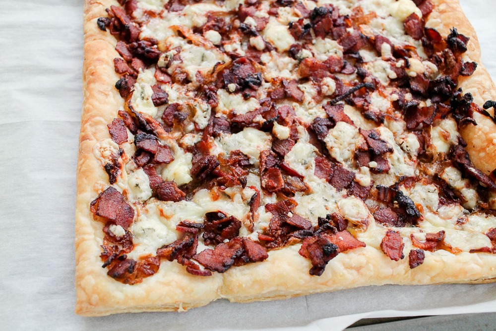 Bacon Bleu Cheese Caramelized Onion on puff pastry