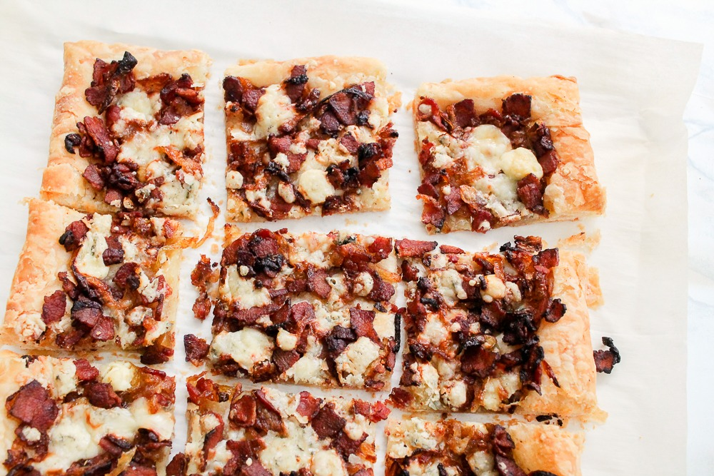 Bacon Bleu Cheese Caramelized Onion puff pastry tart appetizer