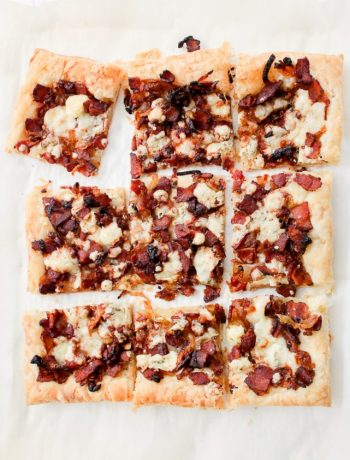 Bacon Bleu Cheese Caramelized Onion puff pastry tart