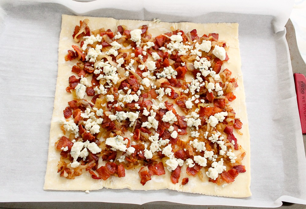 Bacon Bleu Cheese Caramelized Onion tart on puff pastry