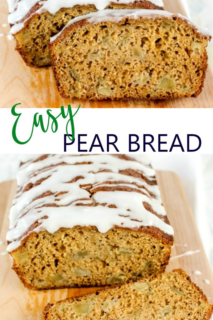 wooden cutting board with easy pear bread with powdered sugar glaze