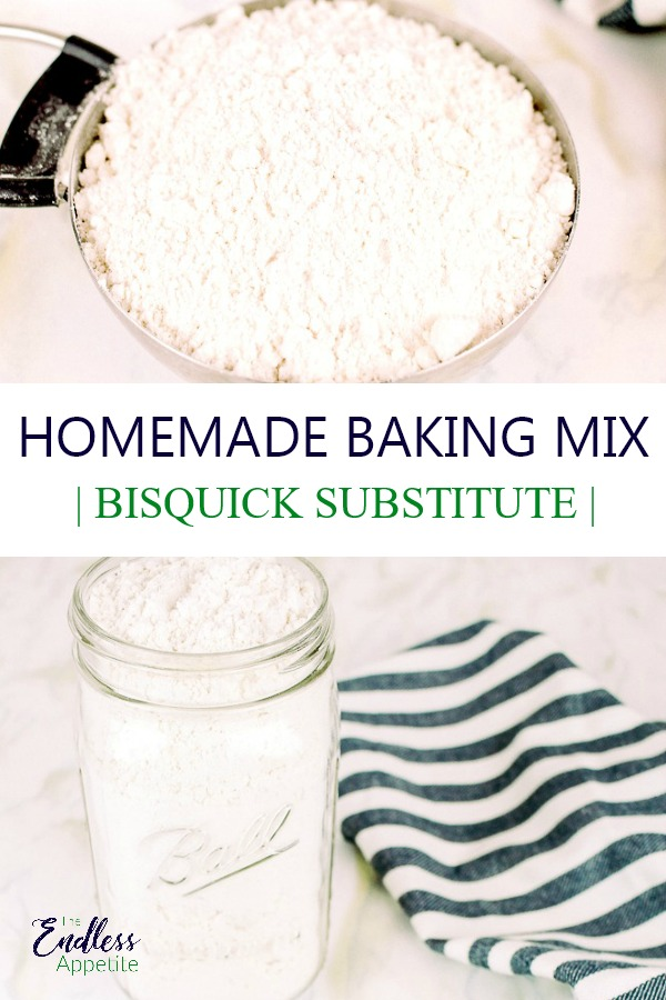 homemade bisquick in a measuring cup and mason jar