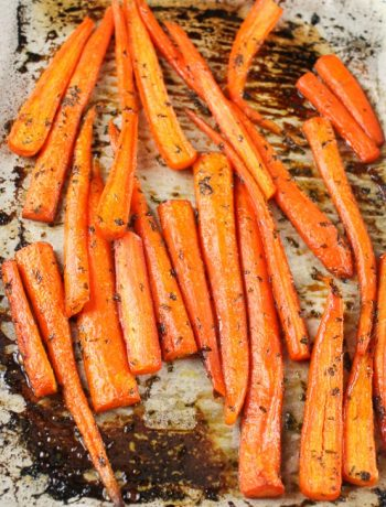 glazed carrots on cookie sheet