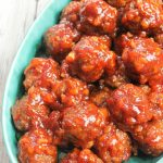 Blue ceramic dish with BBQ baked homemade meatballs