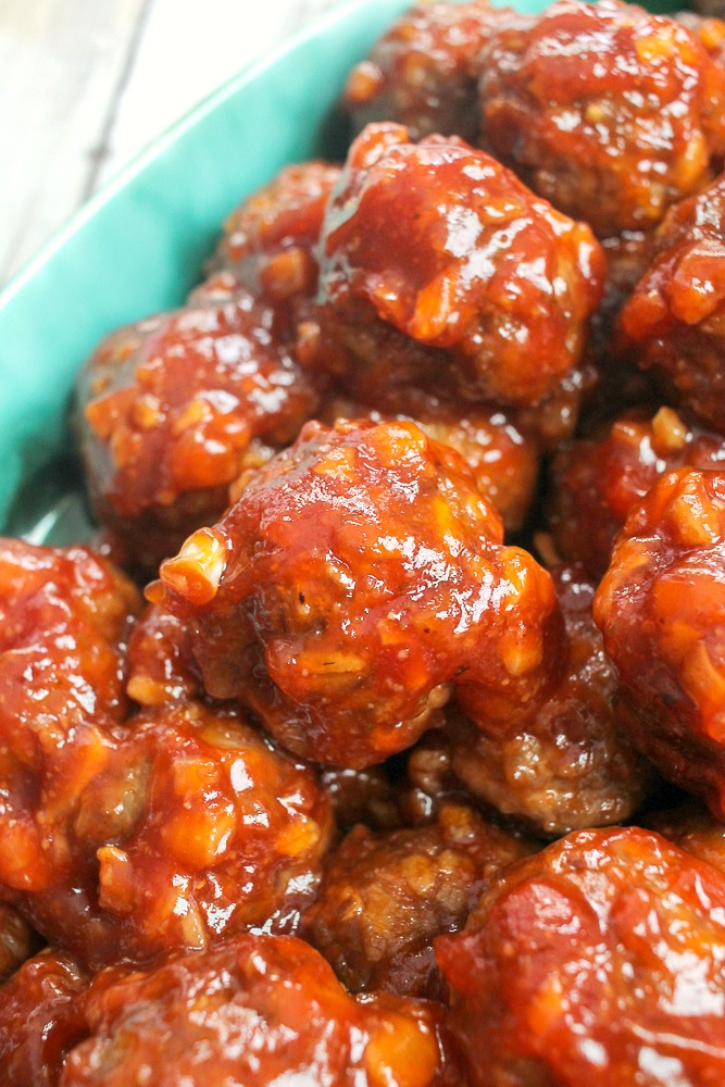 baked BBQ meatballs in a blue dish