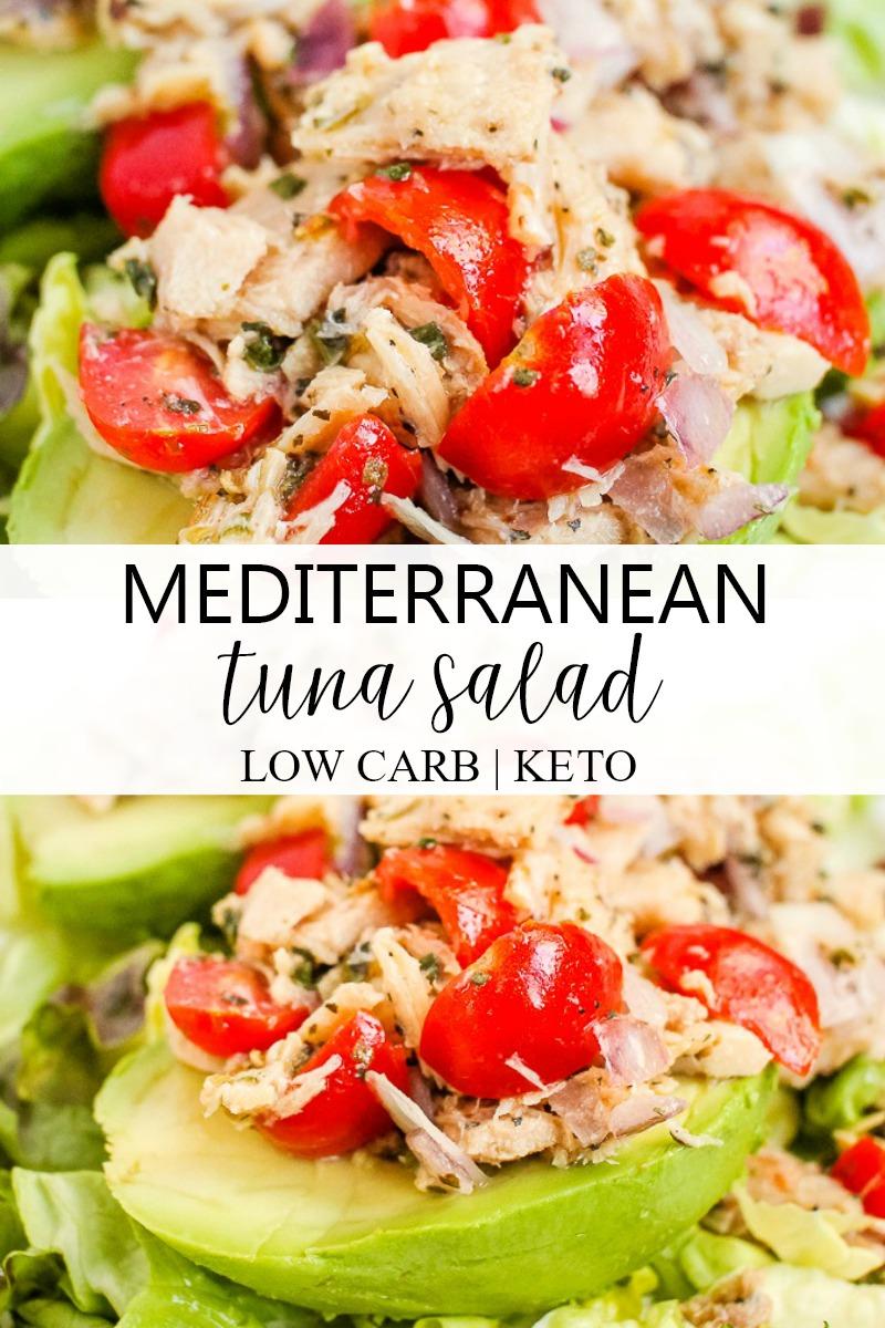 tuscan tuna salad on an avocado half