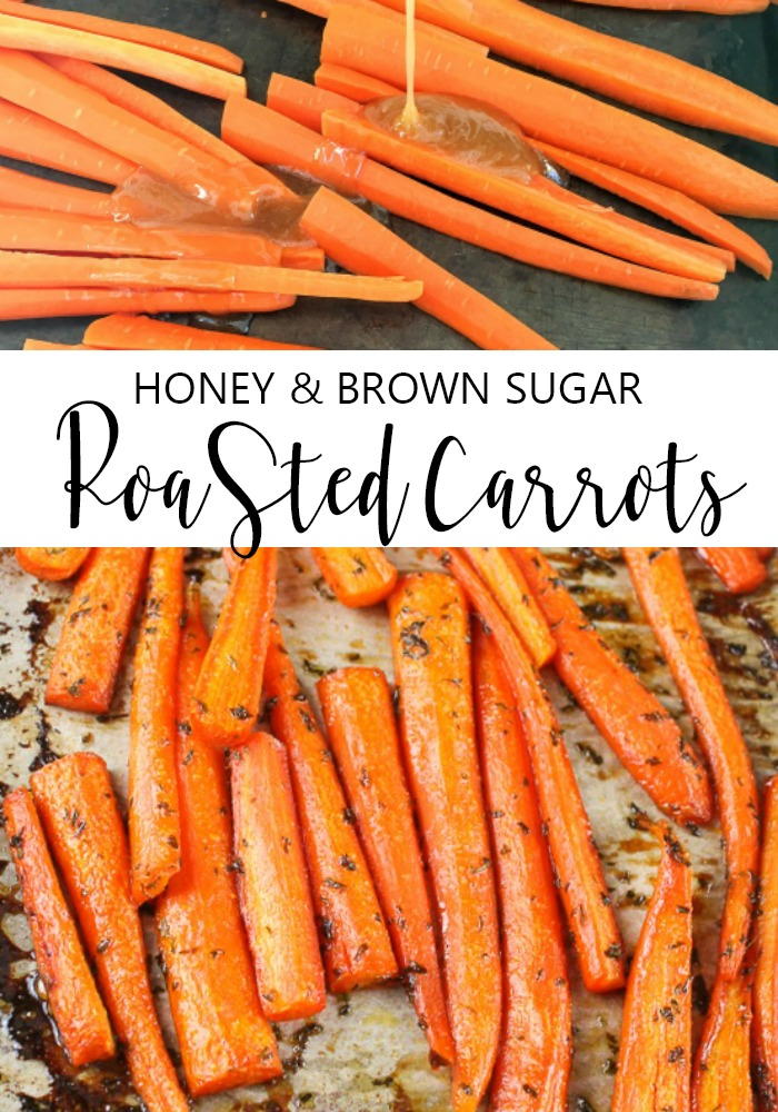 honey and brown sugar roasted carrots on a baking sheet