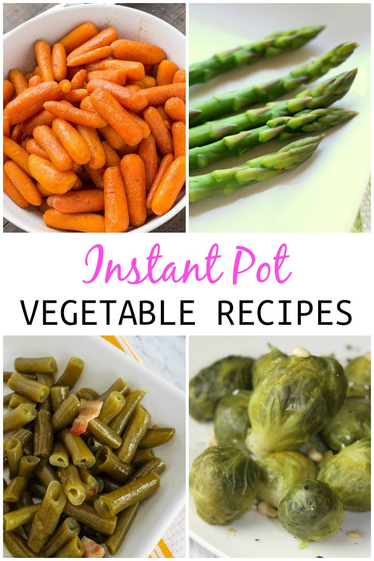 collage of vegetable dishes that can be made in instant pot