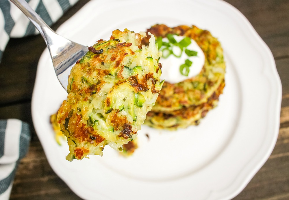 bite of zucchini fritters on a fork