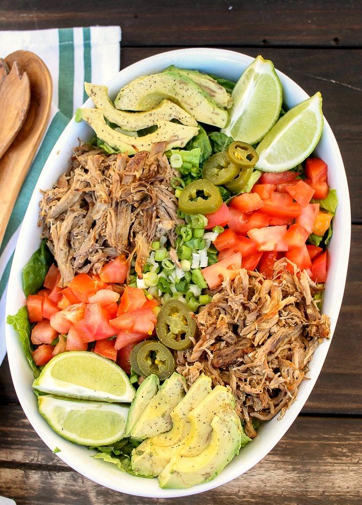 pressure cooker pulled pork salad bowl