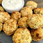 fried mushrooms with a horseradish dipping sauce