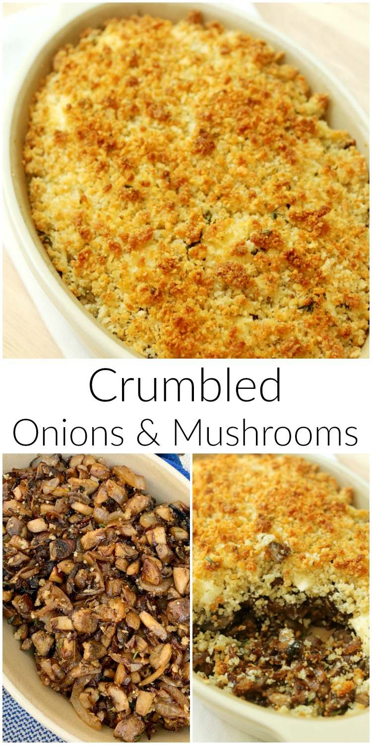 crumbled onions and mushrooms