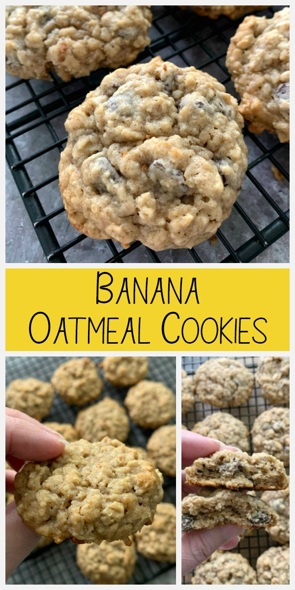 pinterest graphic for banana oatmeal chocolate chip cookies