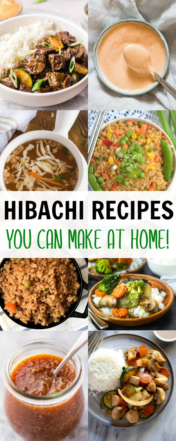 pinterest graphic with collage of hibachi recipes