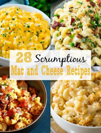 square collage of 4 different mac and cheese pictures