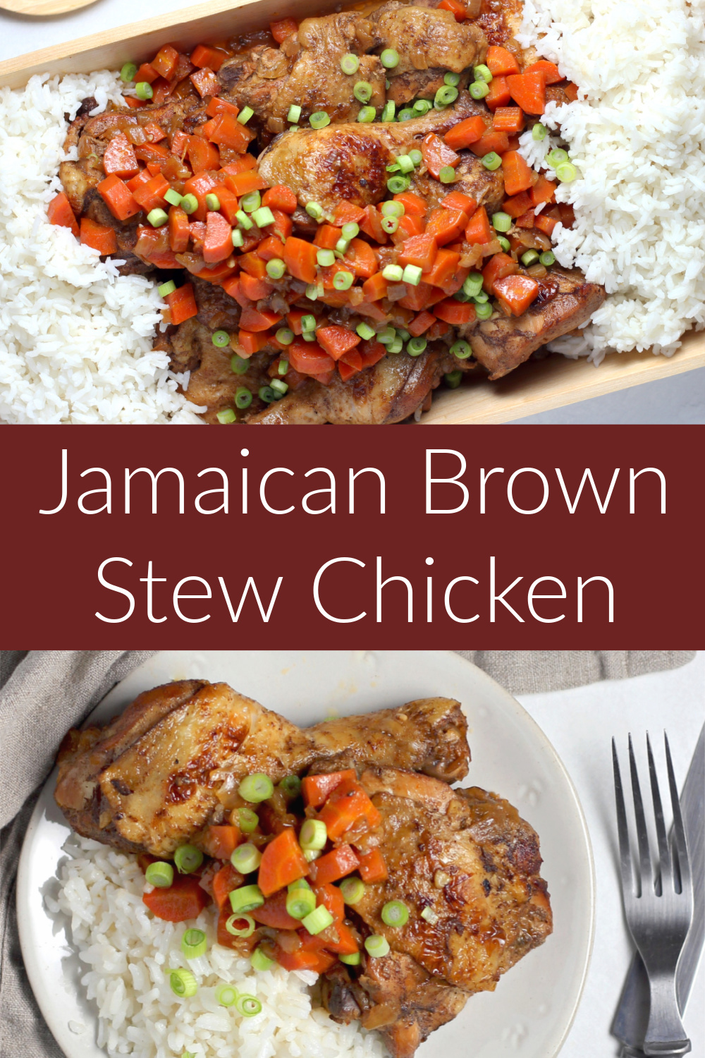 Pinterest image for Jamaican Brown Stew Chicken