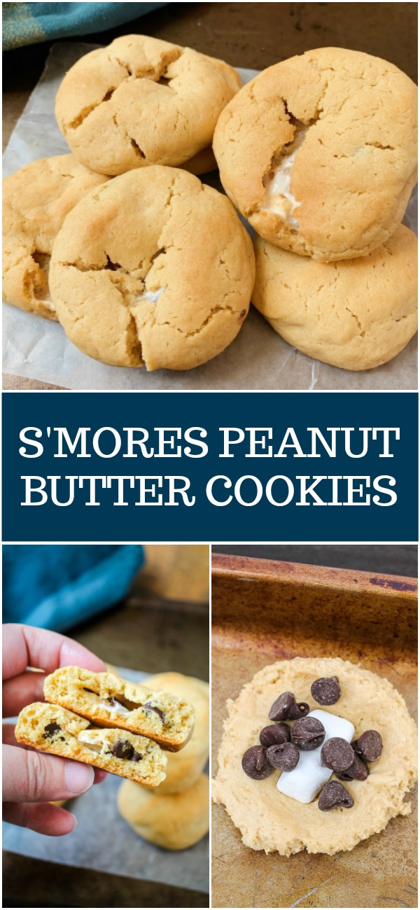 pinterest image for peanut butter s'mores cookies