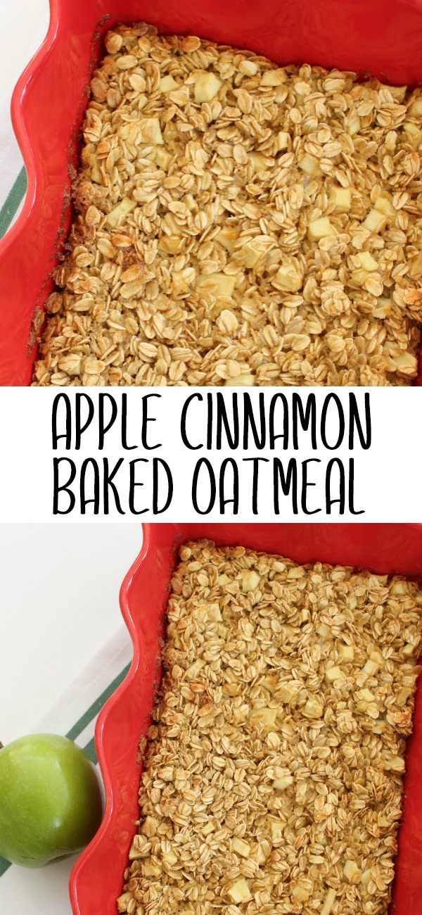 pinterest image for apple cinnamon baked oatmeal