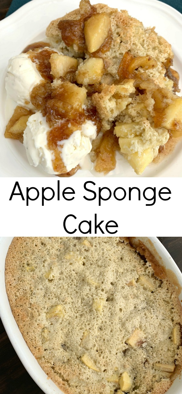 pinterest image for apple sponge pudding cake