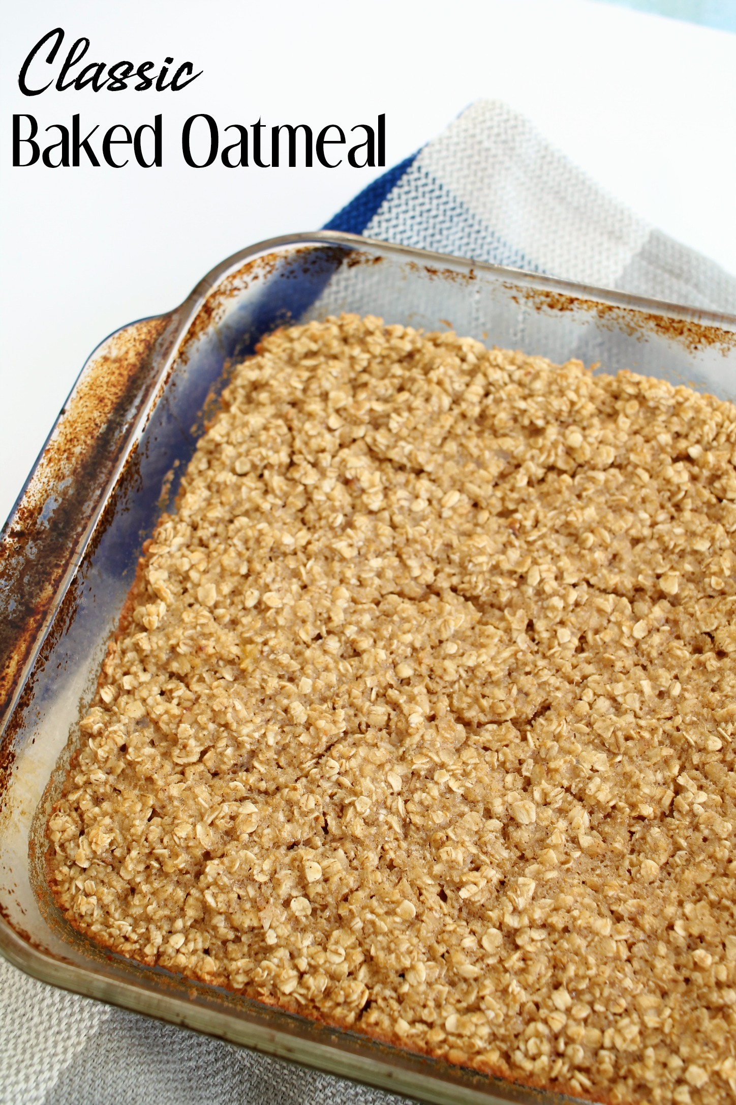 square glass pan filled with baked oatmeal