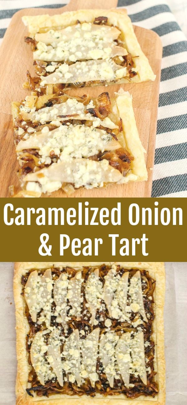 pinterest image for caramelized onion and pear tart