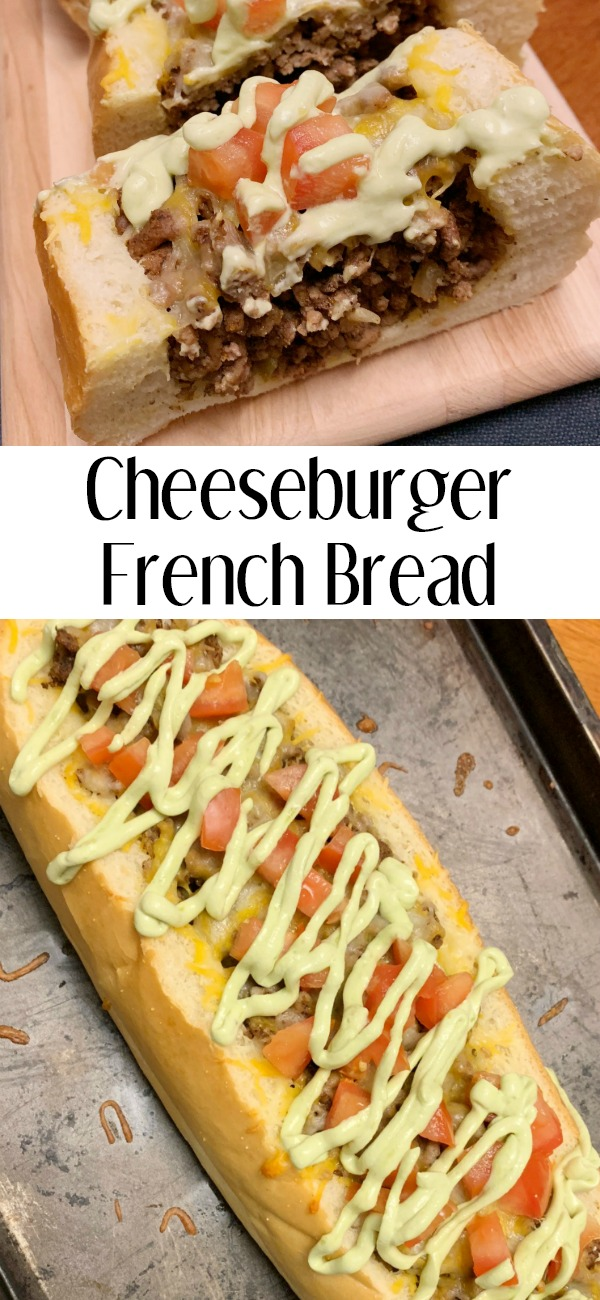 pinterest image for cheeseburger french bread