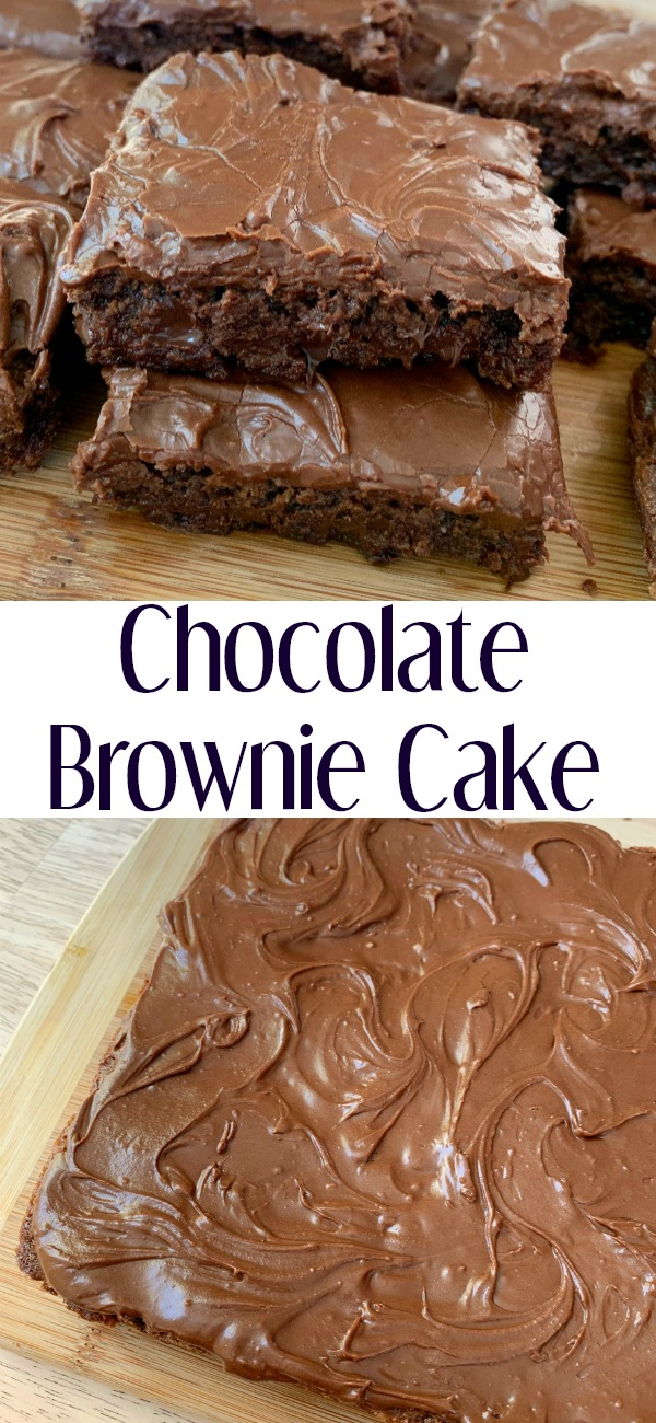 pinterest image for chocolate brownie cake