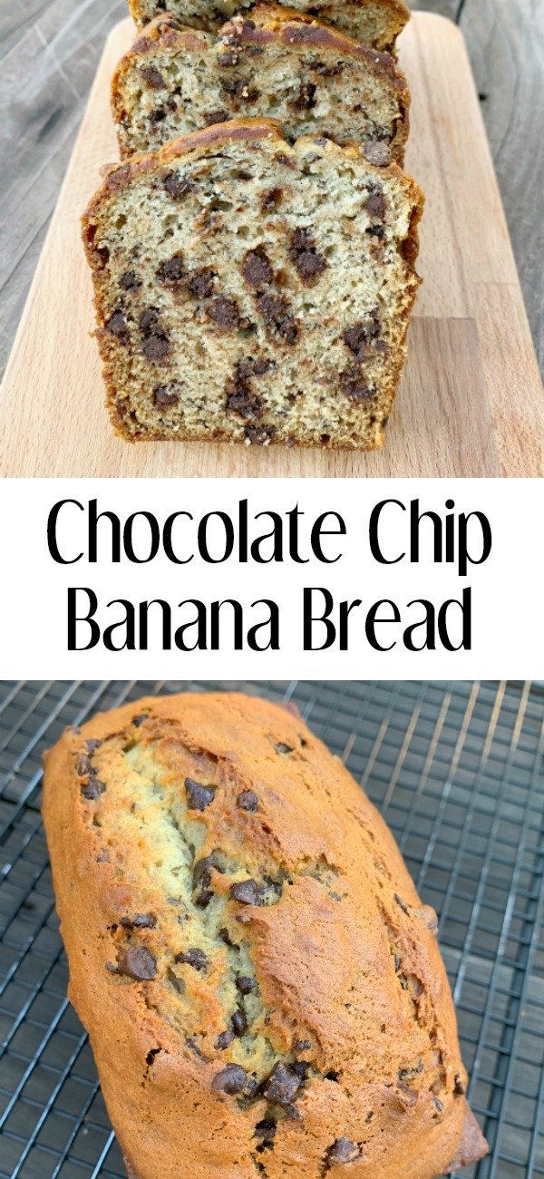pinterest image for chocolate chip banana bread