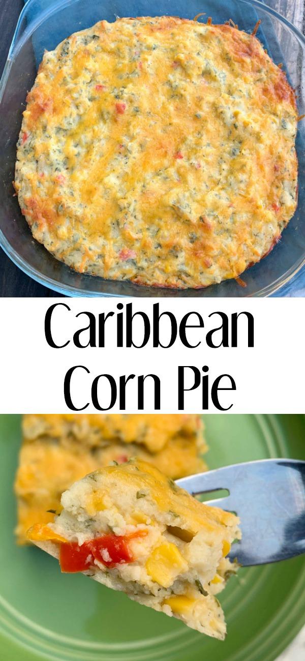 pinterest image for corn pie casserole