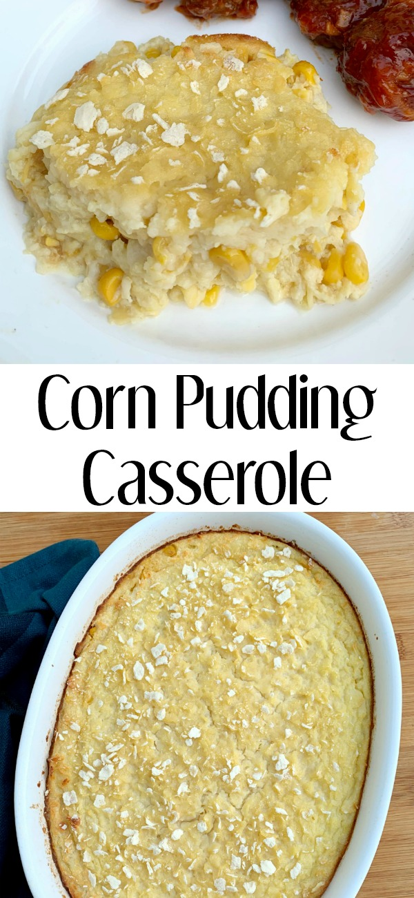 pinterest image for scalloped corn pudding casserole