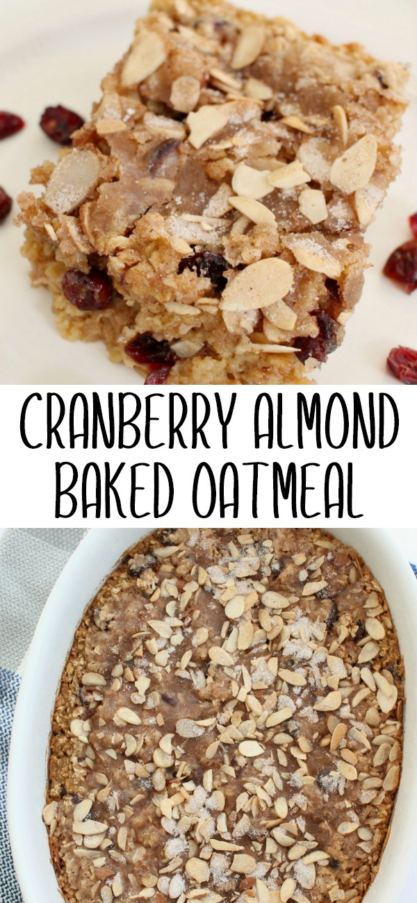 pinterest image for cranberry almond baked oatmeal