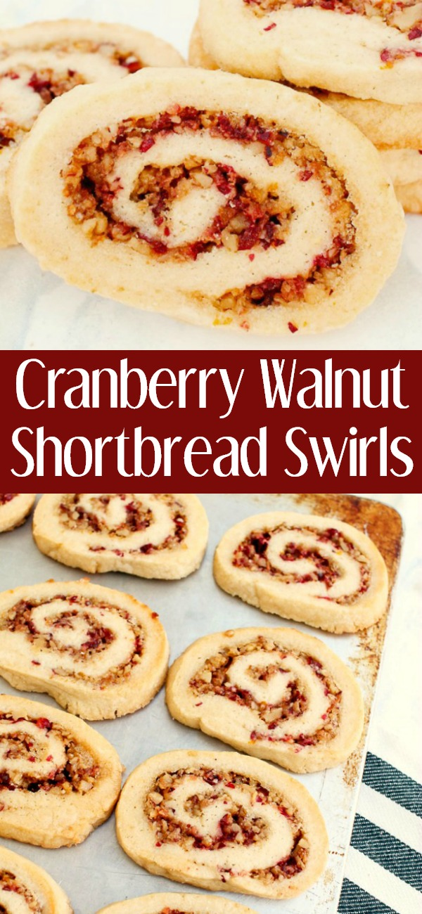 pinterest image for cranberry walnut shortbread cookie