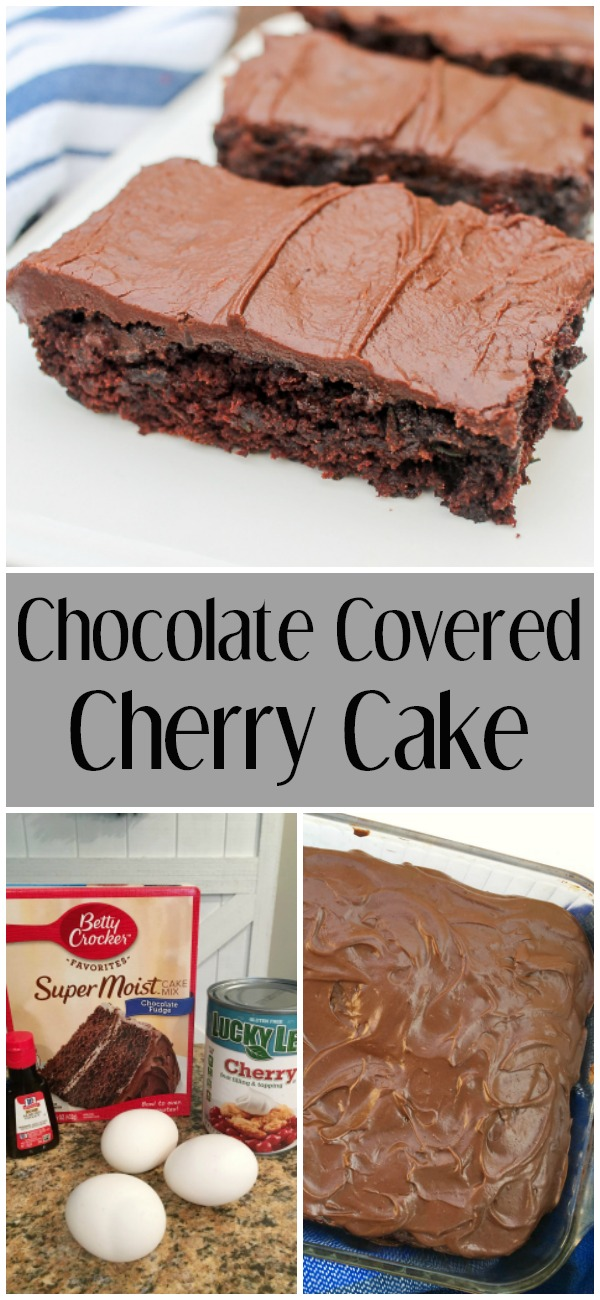 pinterest image for chocolate covered cherry cake