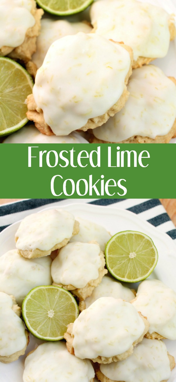 pinterest image for frosted lime cookies