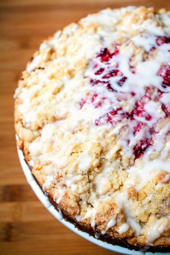 up close shot of raspberry crumb coffee cake
