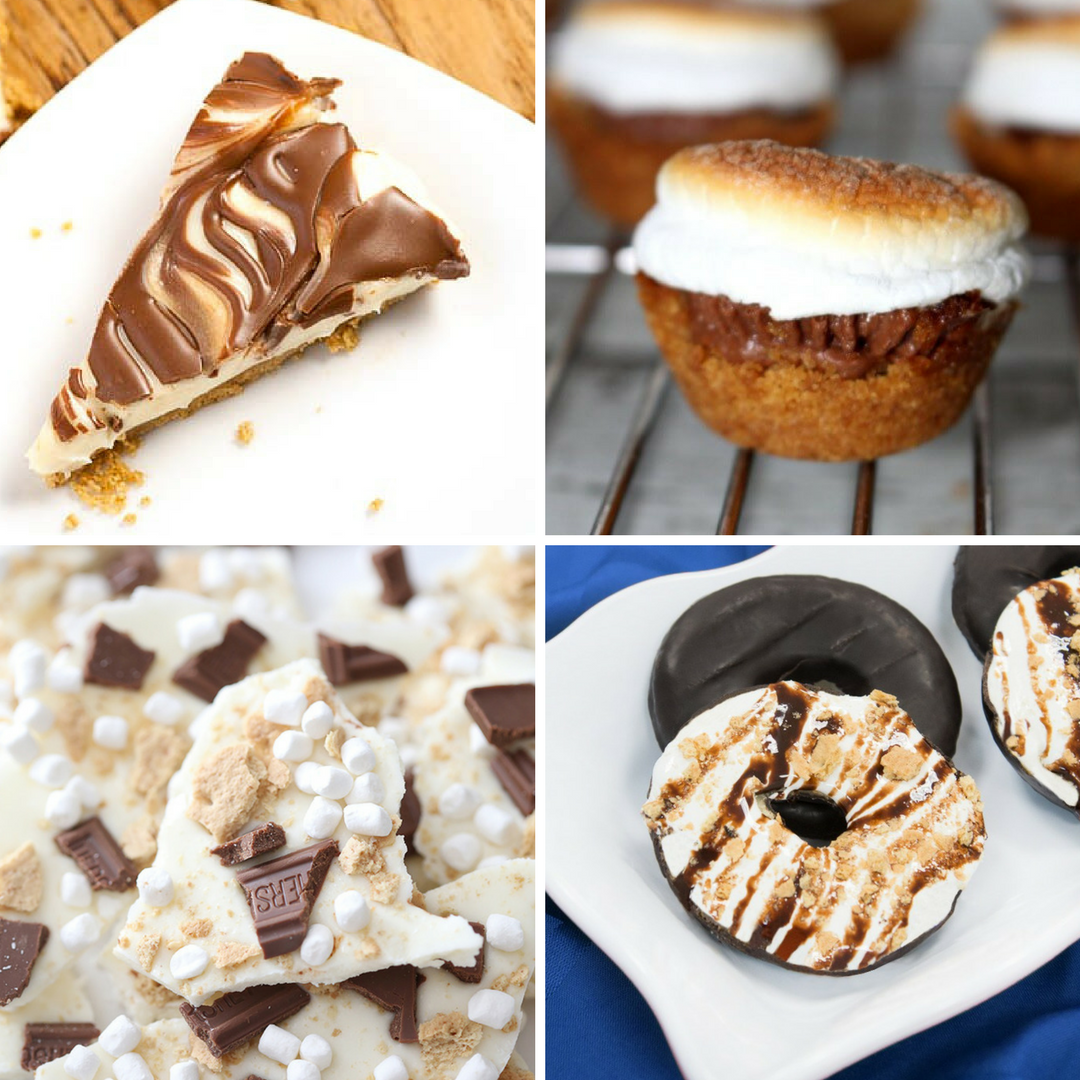 collage of 4 different s'mores desserts