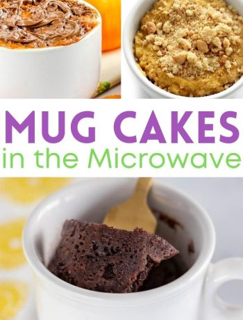 pinterest image for mug cakes in the microwave