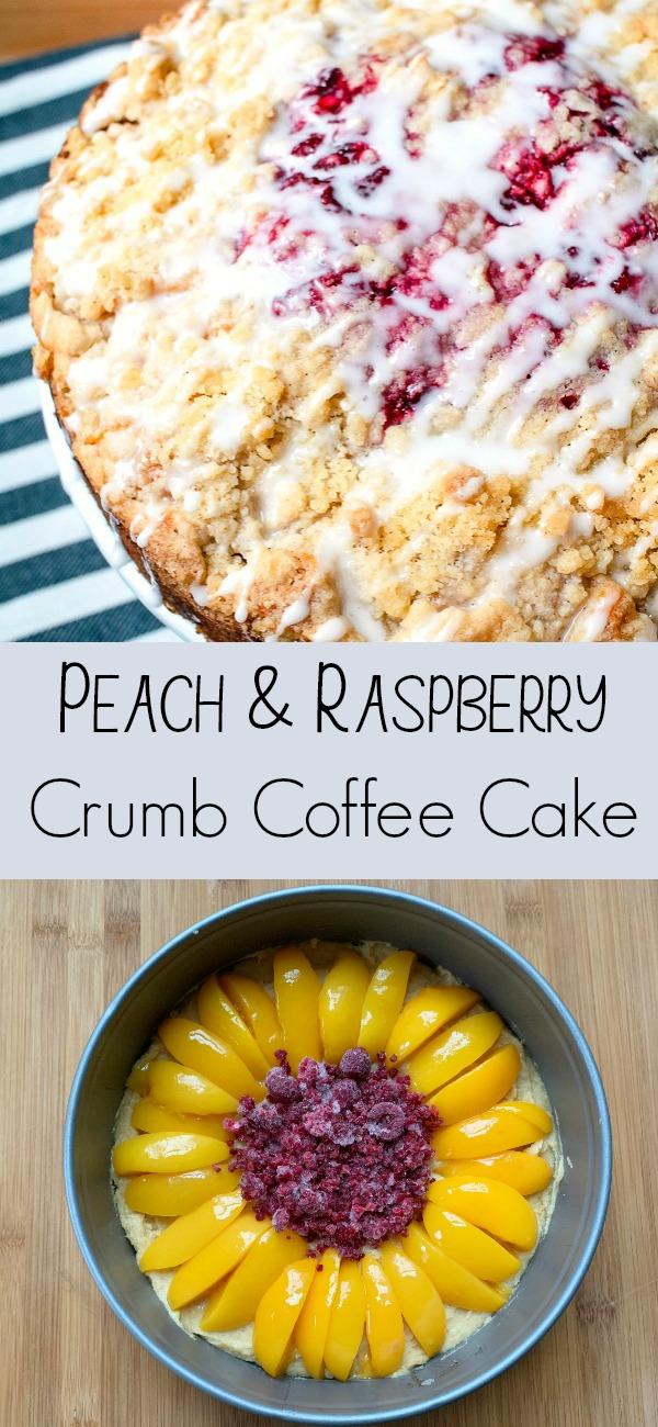 pinterest image for peach raspberry coffee cake