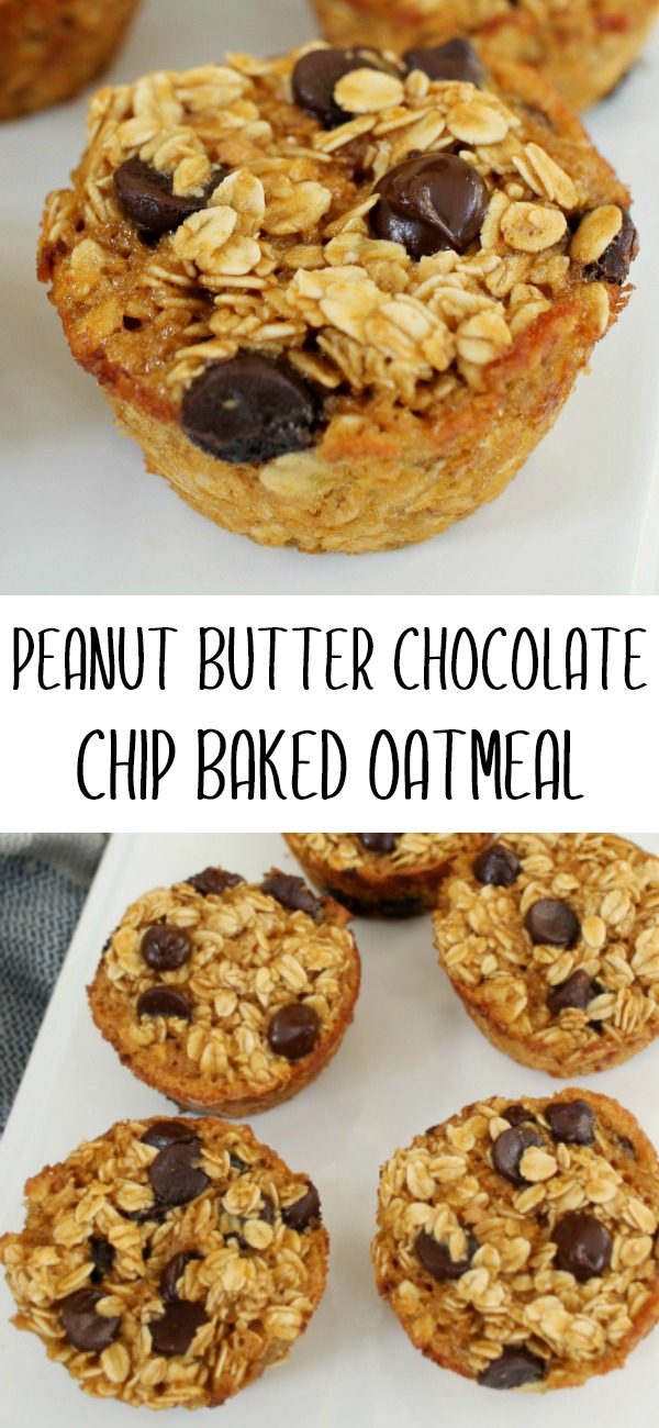 pinterest image for peanut butter chocolate chip baked oatmeal