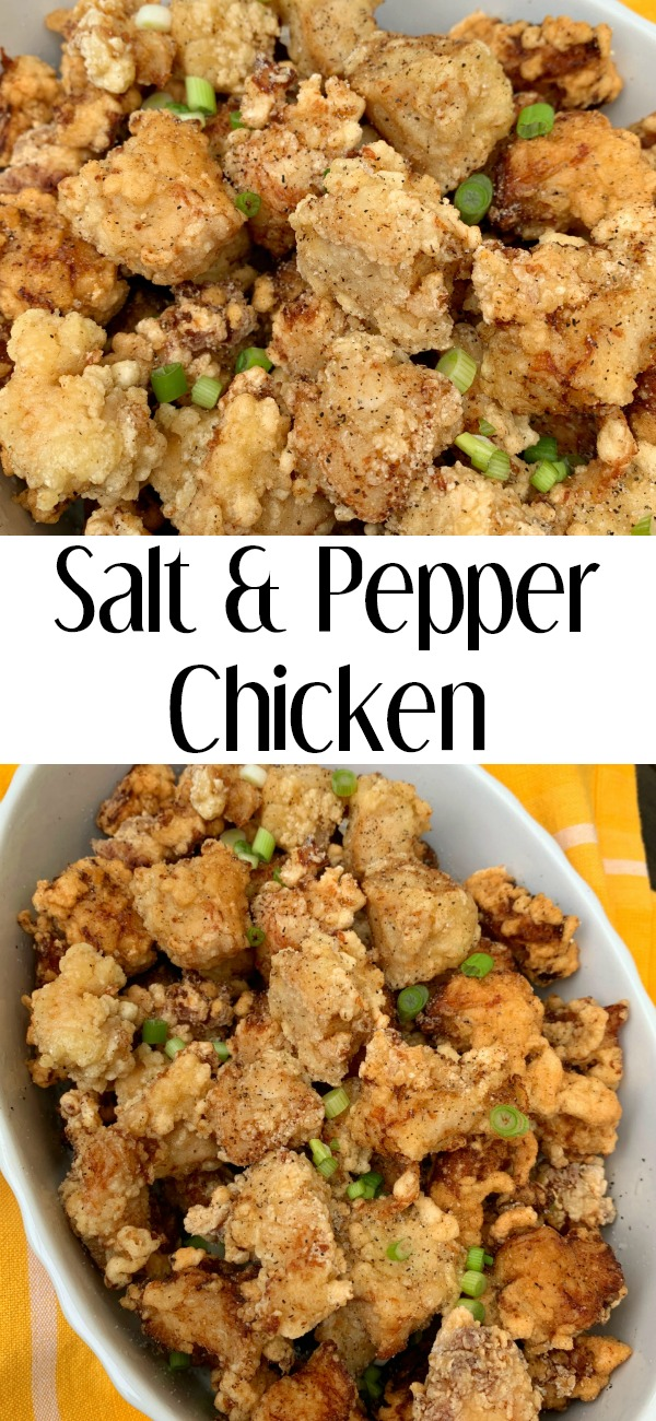 pinterest image for salt and pepper chicken