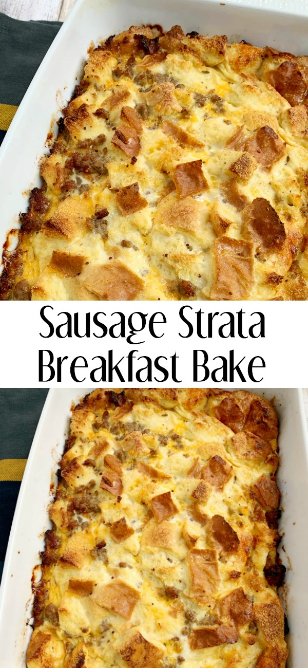 pinterest image for sausage strata breakfast bake
