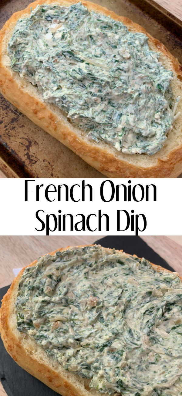 pinterest image for french onion spinach dip