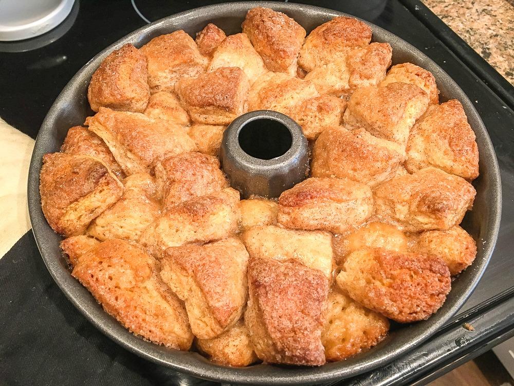 a bundt pan with baked monkey bread in it