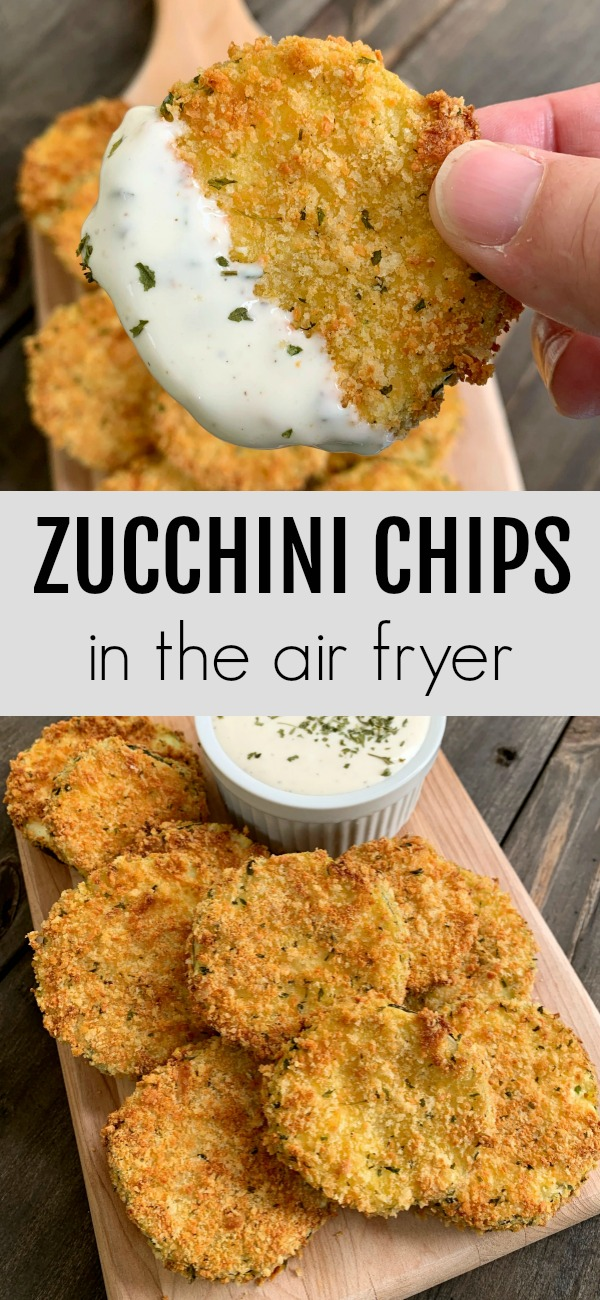 pinterest image for air fried zucchini chips