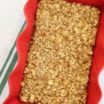 red rectangle dish with apple cinnamon baked oatmeal