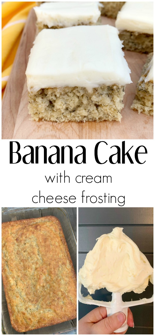 pinterest image for Banana Cake with Cream Cheese Frosting