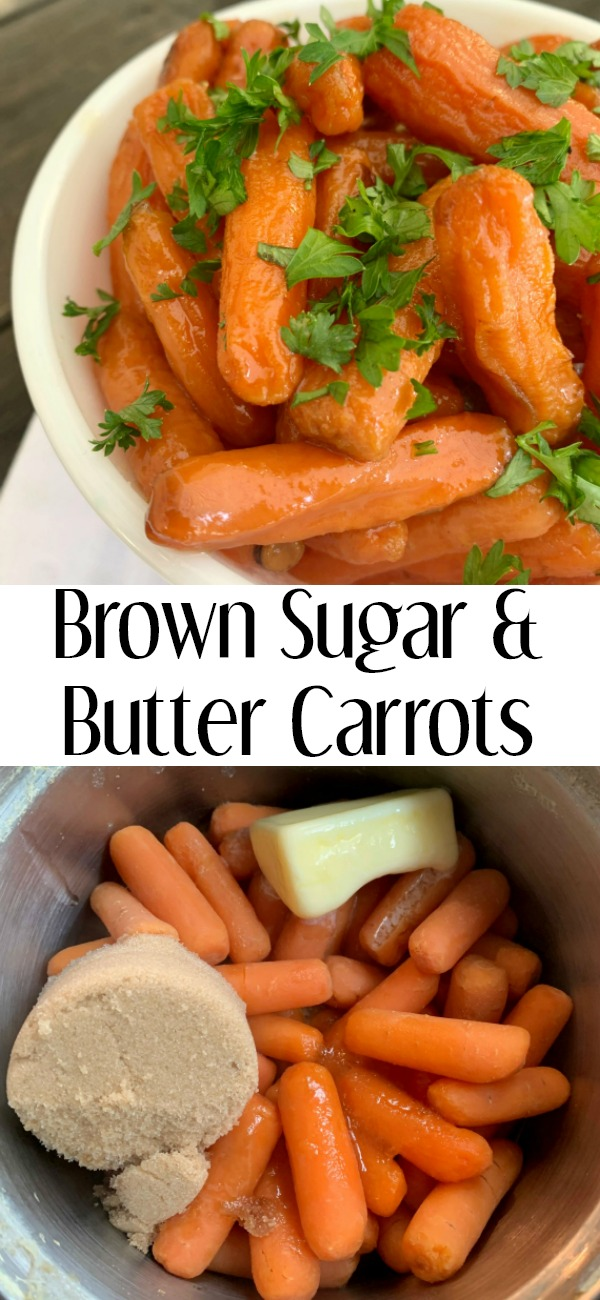 pinterest image for brown sugar and butter carrots