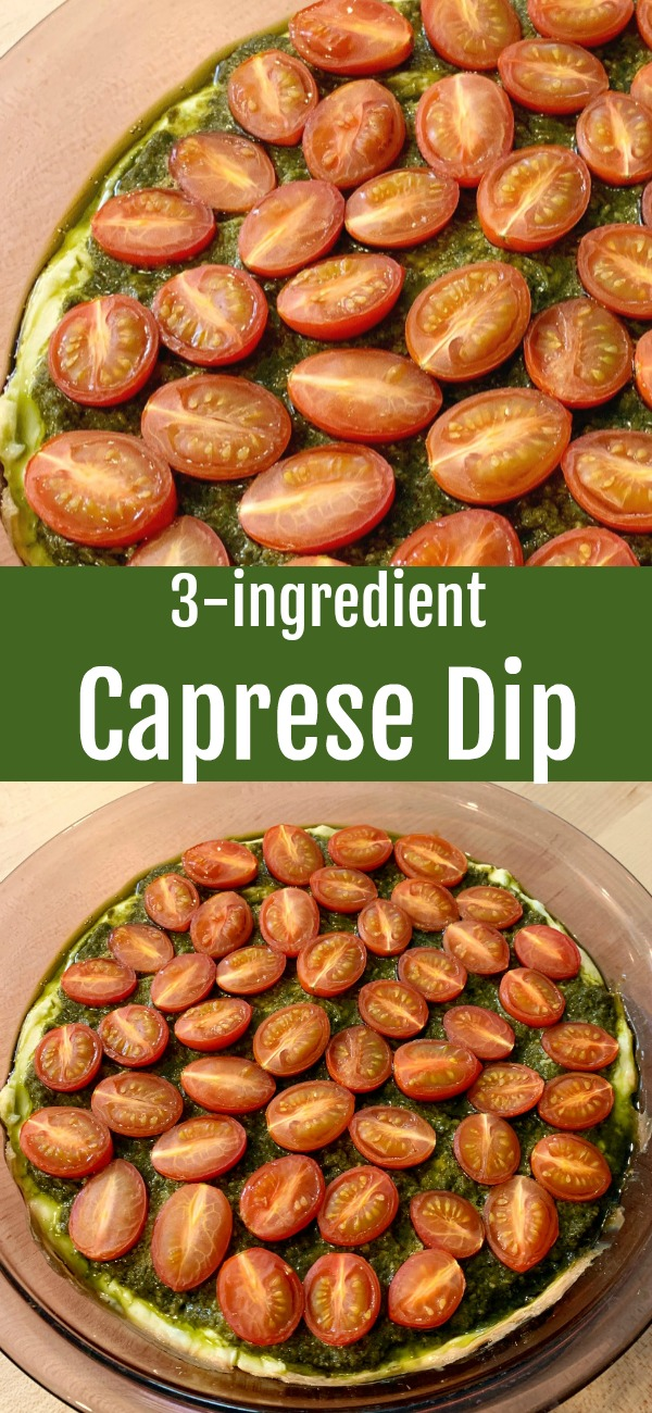 pinterest image for caprese dip
