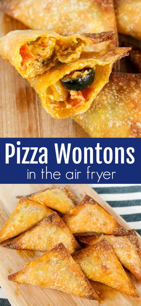pinterest image for pizza wontons in the air fryer