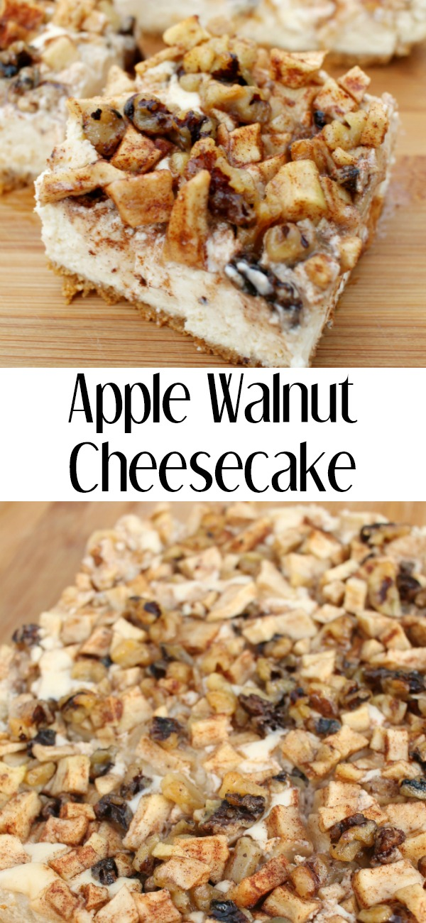 pinterest image for apple walnut cheesecake